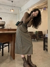 洋裝 復古格子吊帶連衣裙女中長款2021春內搭打底裙子【618特惠】