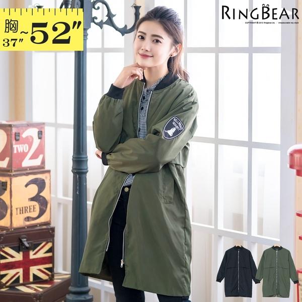 韓版風衣--美式徽章刺繡貼布立領後開岔雙口袋飛行員長版外套(黑.綠XL-5L)-J309眼圈熊中大尺碼◎