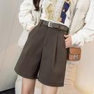 VK精品服飾 韓國風名媛氣質配腰帶休閒寬口收腰單品短褲