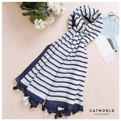 Catworld 無印風條紋柔織圍巾【18003244】‧F