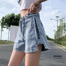 夏季大碼胖寬鬆牛仔短褲女胯大腿粗顯瘦闊腿a字熱褲子【聚物優品】