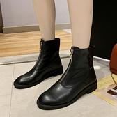 前拉鍊馬丁靴女網紅單靴2020新款短靴複古小跟春秋街拍潮靴女