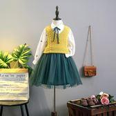 春裝新款針織馬甲兩件套連身裙