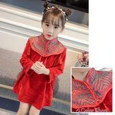新年 童裝冬季女童旗袍洋裝過年喜慶兒童公主裙子加絨加厚女寶寶新年唐裝   color shop