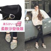 Ann'S可愛造型大蝴蝶結繫帶尖頭平底鞋-條紋