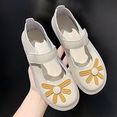豆豆鞋豆豆鞋2021年新款女夏季網紅新款軟底淺口瑪麗珍鞋學生仙女風單鞋 雲朵走走