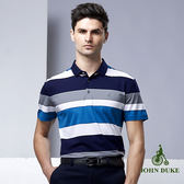 JOHN DUKE 藍白條紋透氣絲光棉POLO衫