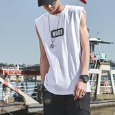 2019夏季新款無袖背心男潮寬鬆嘻哈潮牌韓版國潮坎肩網紅純棉t恤   圖拉斯3C百貨