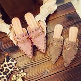 尖頭刺繡包頭半拖鞋女夏時尚外穿涼拖鞋女平跟平底繡花穆勒鞋