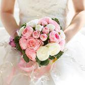 韓式婚慶新娘仿真花手工定制婚禮用品裝飾道具結婚手捧花婚禮花束 【PINK Q】