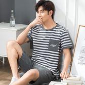 男士睡衣夏季短袖短褲青少年夏天家居服套裝