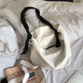 正韓新款圓環可拆卸繫帶單肩帆布包學生水桶包時尚百搭純色購物袋【快速出貨】