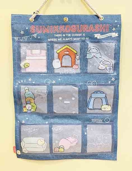 【震撼精品百貨】角落生物 Sumikko Gurashi~SAN-X 角落小夥伴收納壁掛袋-牛仔#75801