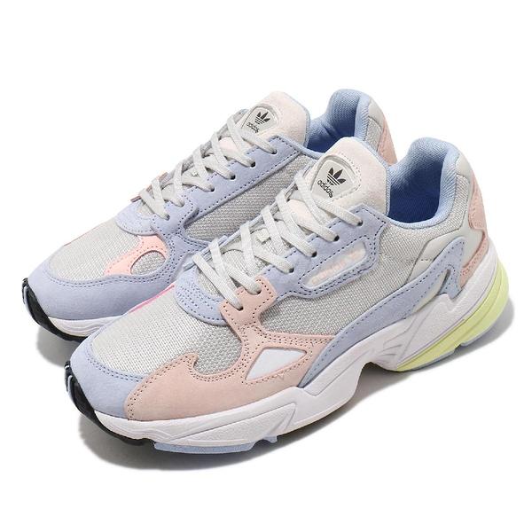 adidas 休閒鞋 Falcon W 藍 粉紅 女鞋 復古 老爺鞋 運動鞋【ACS】 FX3929