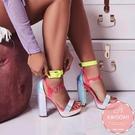 高跟涼鞋 炫彩撞色蘿莉風露趾 高跟鞋 晚宴鞋 新娘鞋*KWOOMI-A121
