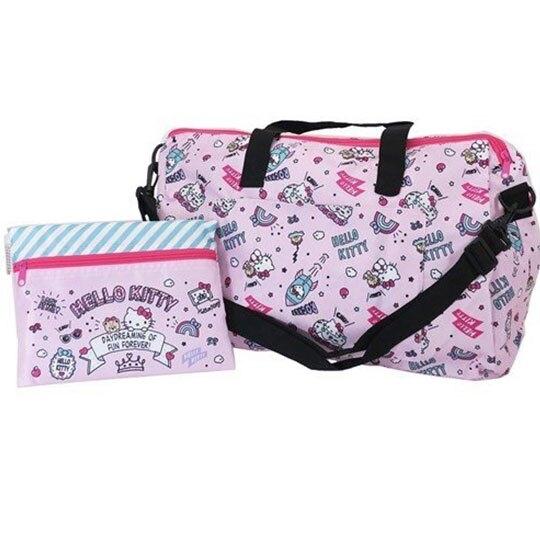 〔小禮堂〕Hello Kitty 折疊尼龍拉桿行李袋《粉.插圖》旅行袋.側背袋 4930972-47844