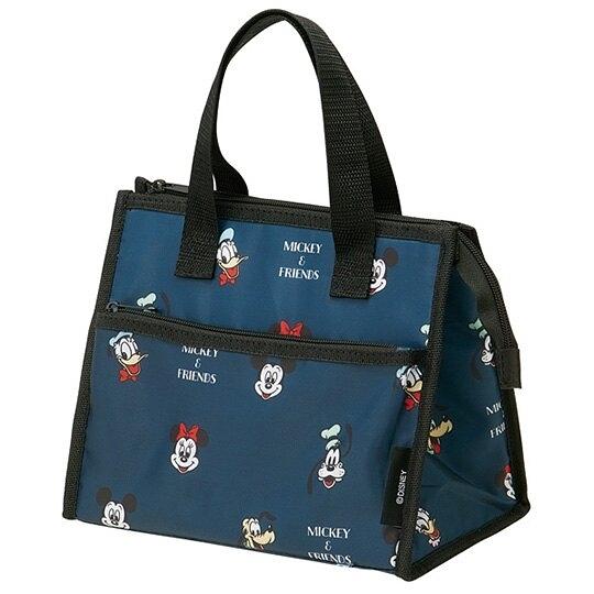 小禮堂 迪士尼 方形尼龍保冷便當袋 餐袋 手提野餐袋 (深藍 大臉滿版) 4973307-49593