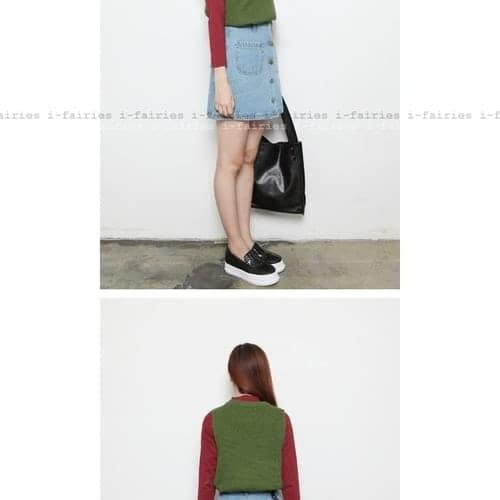 高腰單排扣口袋半身裙牛仔短裙★ifairies【41692】