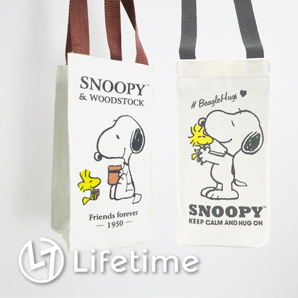 ﹝史努比帆布飲料袋﹞正版飲料提袋 手提袋 購物袋 SNOOPY〖LifeTime一生流行館〗