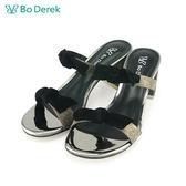 【Bo Derek 】一字蝴蝶結金屬絲高跟涼拖鞋-灰綠色