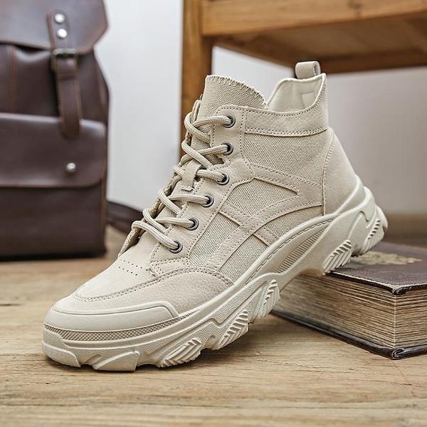 靴子男高筒夏季透氣男士中幫作戰沙漠靴男靴工裝英倫風馬丁靴