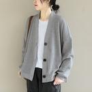 純棉V領單排扣外套 純色下擺開叉長袖外套/2色-夢想家-0118
