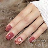 假指甲貼片光療成品 褐紅色暈染金圈珍珠  時尚凝膠美甲貼   SQ9620『伊人雅舍』 TW