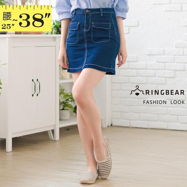 牛仔裙--韓版修身顯瘦前後口袋撞色車線高腰牛仔短裙(藍M-5L)-Q115眼圈熊中大尺碼