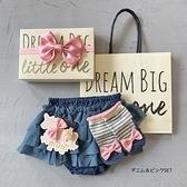 【日本製】日本製 禮品組 嬰兒 燈籠短褲 襪子 髮夾 藍色 x 粉紅色 SD-1187 -