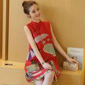 少女紅色時尚A字連衣裙夏中國民族風