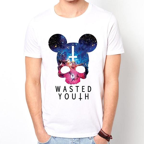 Cosmic Wasted Youth短袖T恤-白色十字架銀河系骷髏搖滾設計插畫裸女潮流情色樂團玩翻390 gildan