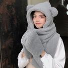 圍巾 小熊帽子女秋冬季百搭可愛圓臉毛絨加厚連帽圍巾一體護耳保暖棉帽-Ballet朵朵