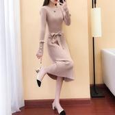 秋冬新款女裝中長款洋裝韓版修身針織衫圓領毛衣打底裙子過膝厚-ifashion