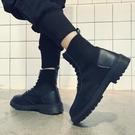 男靴春季男鞋2020新款馬丁靴男英倫風男士高筒皮靴工裝靴子男黑色短靴 嬡孕哺