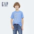 Gap男童 純棉運動風印花短袖T恤 697149-藍色
