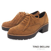 Tino Bellini 英倫學院厚底中跟牛津鞋_ 棕  A79048 網路限定款