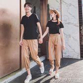 情侶裝夏裝套裝新款韓版七分褲短袖T恤上衣潮流情侶款氣質潮  潮流前線