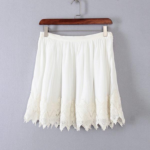 [超豐國際]面春夏裝女裝白色蕾絲邊簡約淑女短裙 31923(1入)