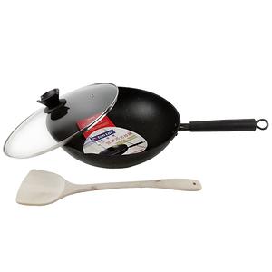 愛佳寶 碳鋼不沾炒鍋32cm(含鍋蓋及鍋鏟)