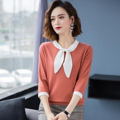 上衣 針織衫簡約百搭領口系帶七分袖冰絲針織衫女上衣內搭中袖薄款T19紅粉佳人