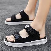 涼鞋 2021夏季新款男士涼鞋潮流百搭休閒平底拖鞋外穿防滑軟底兩用涼拖 晶彩 99免運