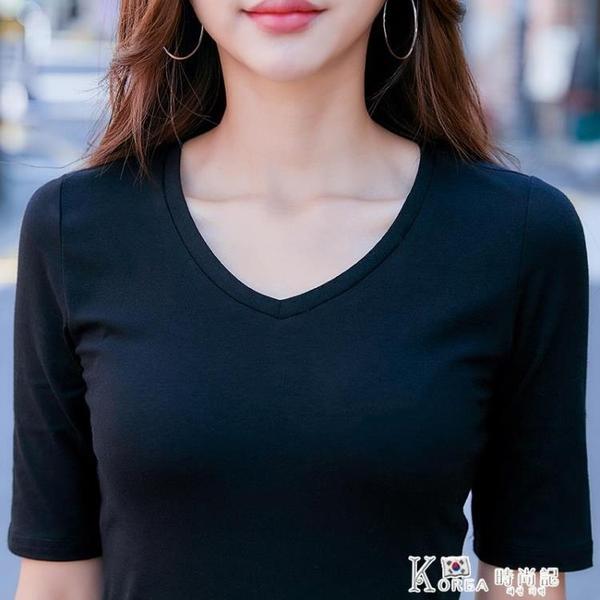 五分袖上衣 黑色打底衫女夏裝2020新款春純棉V領上衣五分袖緊身百搭純色中袖