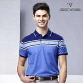 Emilio Valentino 海洋風彈性棉休閒POLO衫 - 藍