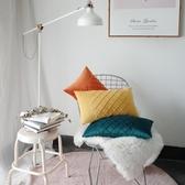 北歐經典格子絲絨親膚抱枕設計師樣板房靠墊 腰枕 腰靠