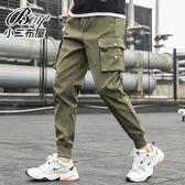 縮口褲 側邊口袋標帶休閒工作褲【NZ75967】