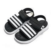 ADIDAS 涼鞋 DURAMO SL SANDALS 黑白 軟Q 黏帶 運動 女 (布魯克林) FY8134