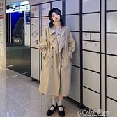秋季2021新款韓版寬松垂感風衣女裝中長款英倫風日系風格穿搭外套 快速出貨