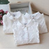 女童白襯衫長袖百搭洋氣兒童襯衣女寶寶純棉翻領上衣吾本良品