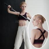 運動內衣-寬幅交叉肩帶-慢跑瑜珈有氧運動內衣 星光密碼P055黑