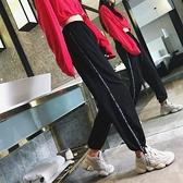 工裝褲 冰絲運動褲女寬鬆束腳黑色ins潮春夏季薄款學生bf工裝褲直筒休閒 【618 購物】